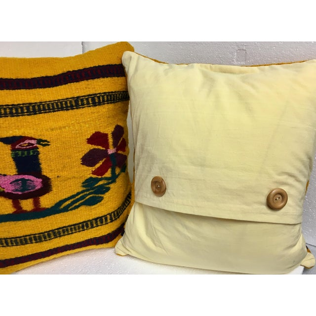 Boho Chic Hand Woven Wool Pillows - A Pair - Image 3 of 4