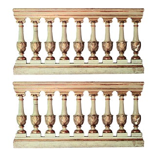Italian Neo-Classic White and Gold Railings - a Pair For Sale
