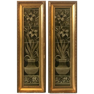 Aesthetic Movement Framed Tiles - a Pair