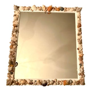 Vintage Shell Encrusted Wall Mirror For Sale