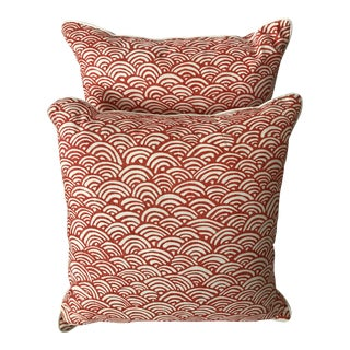 Coral & White Lulu DK Fabric Pillows - A Pair For Sale