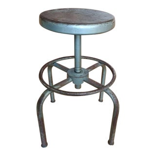 Vintage Ajustrite Schaar Industrial Metal Bar Stool