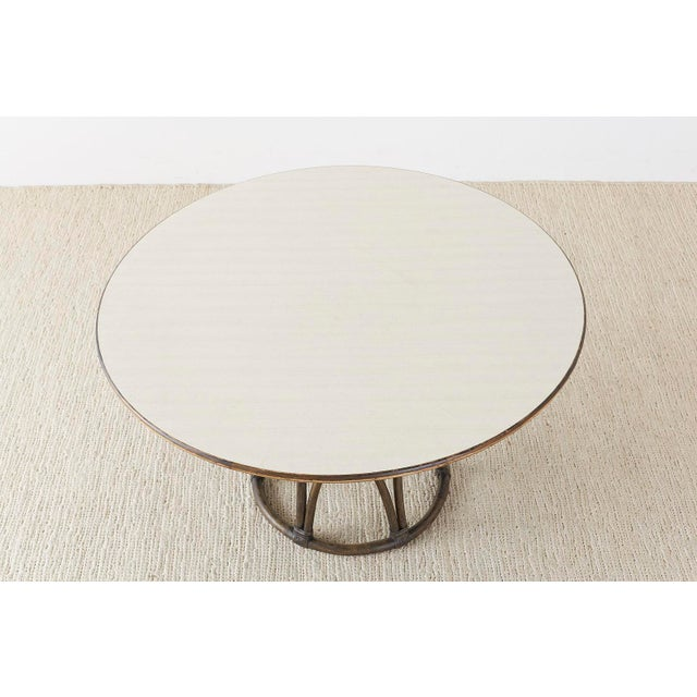 McGuire Organic Modern Round Game or Dining Table For Sale In San Francisco - Image 6 of 13