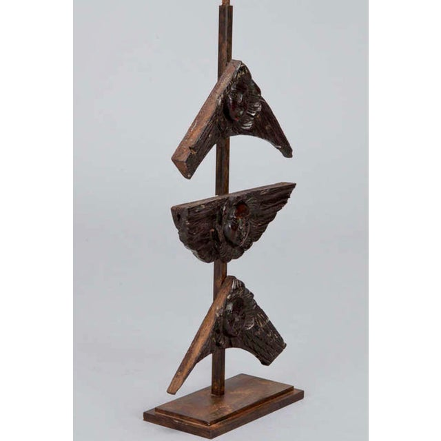 French 19th Century Carved Wood Angel Faces on Iron Stand- S/3 For Sale - Image 3 of 4