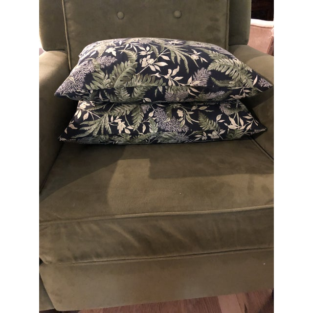Contemporary Waverly Chartreuse and Black Print Lumbar Pillows - a Pair For Sale - Image 4 of 6