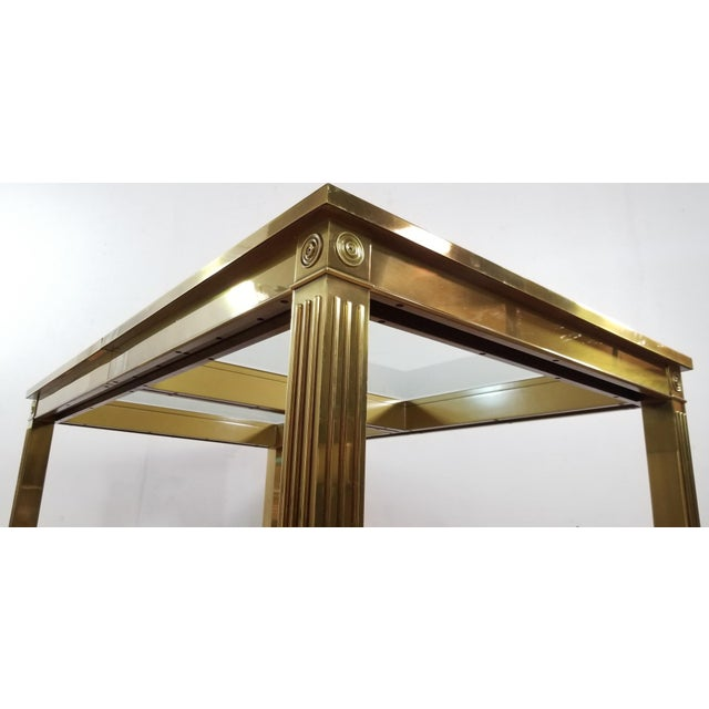 1970s Mid-Century Modern Mastercraft Brass and Beveled Glass Extension Table With Columnar Legs For Sale - Image 5 of 13