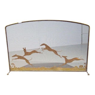 Vintage Bronze Monumental Firescreen Signed Oscar Bach Depicting Running Hounds