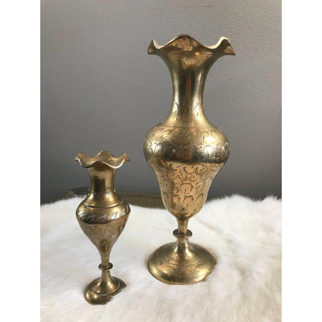 1970s Hollywood Regency Etched Brass Vases A Pair Chairish