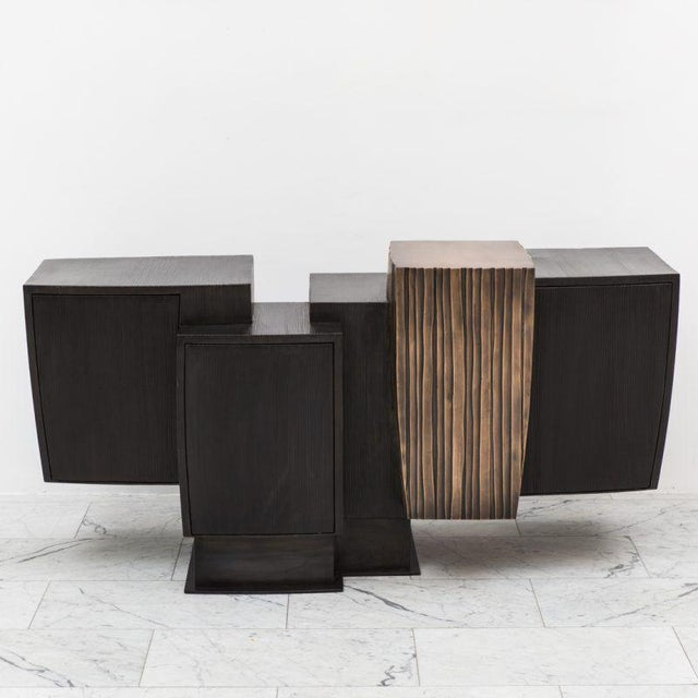 Gary Magakis, Blackened Steel and Layered Bronze Compact Console, USA, 2017 For Sale - Image 9 of 9