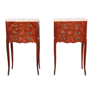 Antique French Louis XV Style Inlaid Marquetry Marble Top Nightstands - A Pair For Sale
