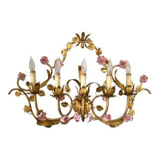 Mid Century Italian Gilt Tole Flower Wall Light Sconce For Sale