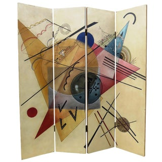 Vintage Wassily Kandinsky Style Abstract 4-Panel Folding Room Divider / Screen For Sale
