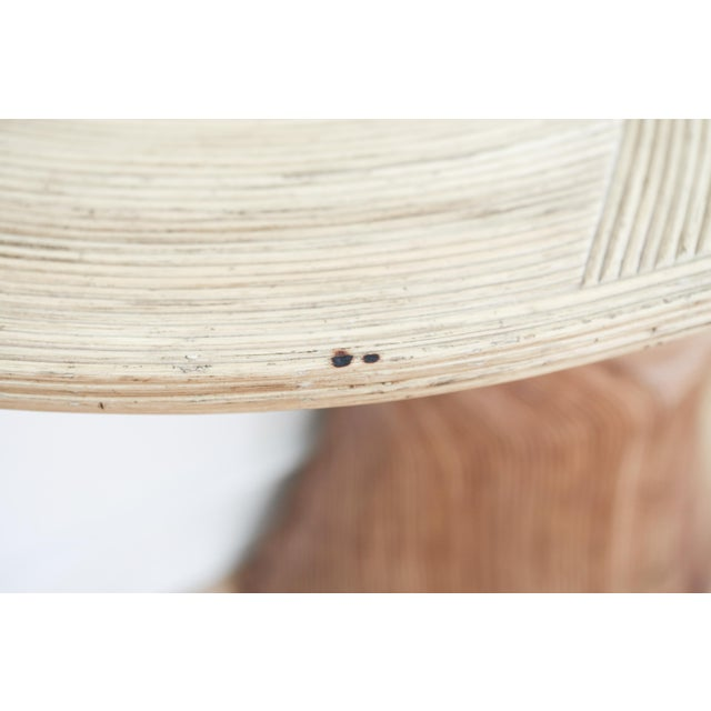 Rattan Vintage Pencil Reed Rattan Demilune Console Table For Sale - Image 7 of 9