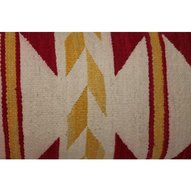 Navajo Indian Weaving Yellow and Red Bolster For Sale In Los Angeles - Image 6 of 7