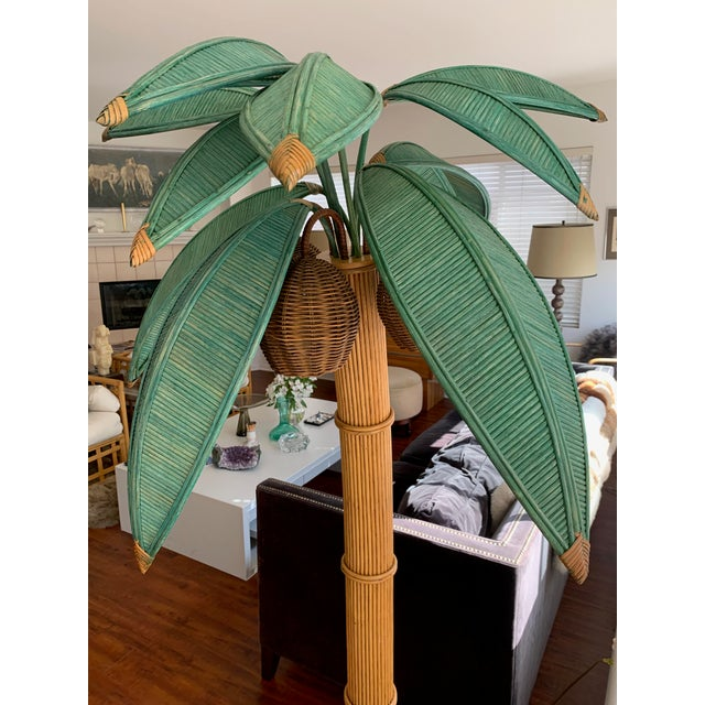 Wood Mario Lopez Torres Rattan Palm Tree Floor Lamp For Sale - Image 7 of 10