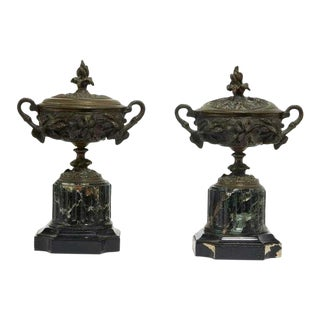 Pair of Antique French Bronze & Verde Antico Marble Covered Urns For Sale
