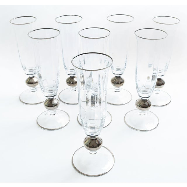 Art Deco Barware Crystal Champagne Flute Set Eight Pieces For Sale - Image 10 of 12