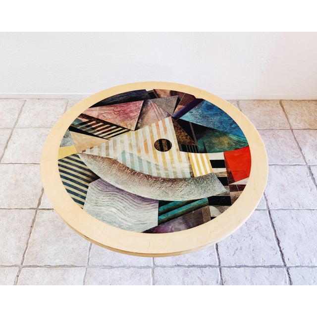 Abstract 1980s Vintage Post Modern Cylinder Coffee Table For Sale - Image 3 of 10
