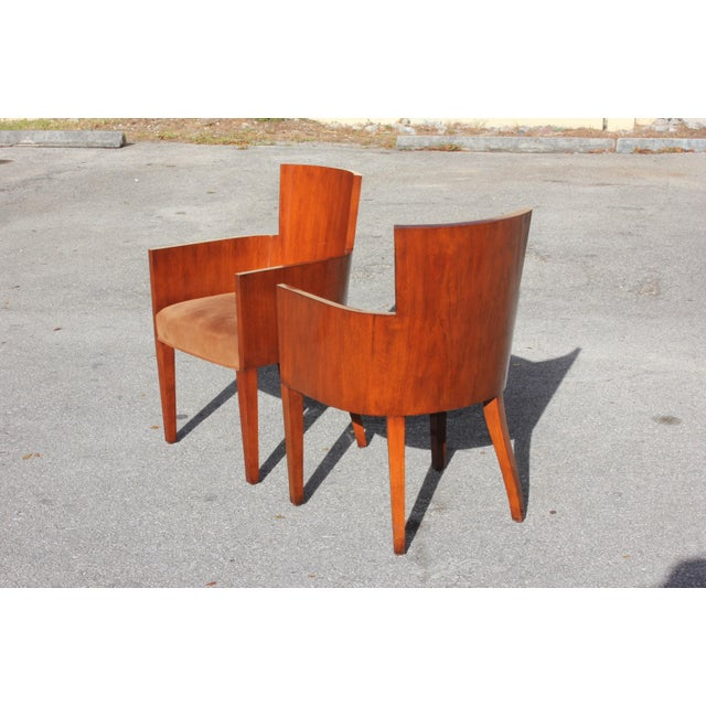 Ralph Lauren Pair of Solid Mahogany Ralph Lauren Modern Hollywood Armchairs . For Sale - Image 4 of 13