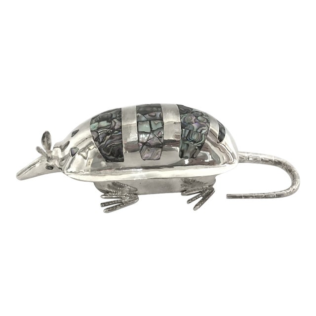 20th Century Figurative Silver Armadillo Form Lidded Box With Abalone Shell For Sale