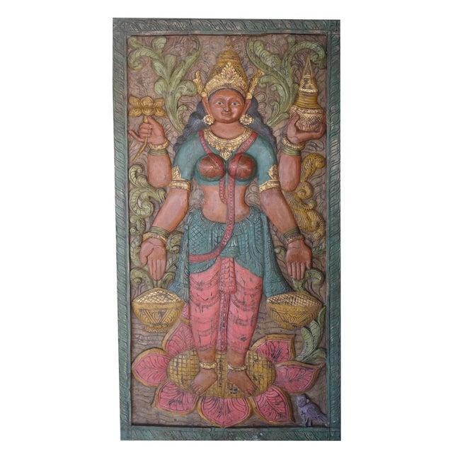 Vintage Carved Lakshmi Hindu Goddess of Wealth Barn Door Colorful Wall Panel Relief For Sale - Image 4 of 4