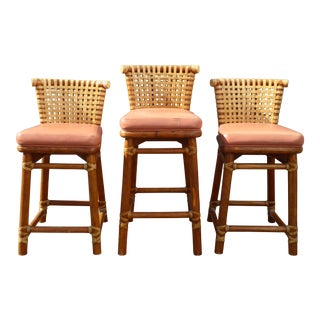 McGuire Bamboo Barstools with Laced Rawhide - Set of 3