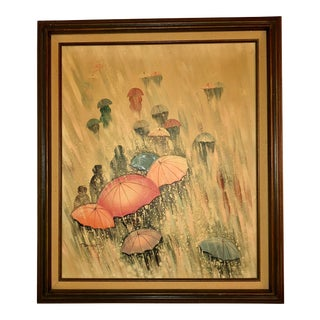 Vintage Rainy Day Oil Painting For Sale