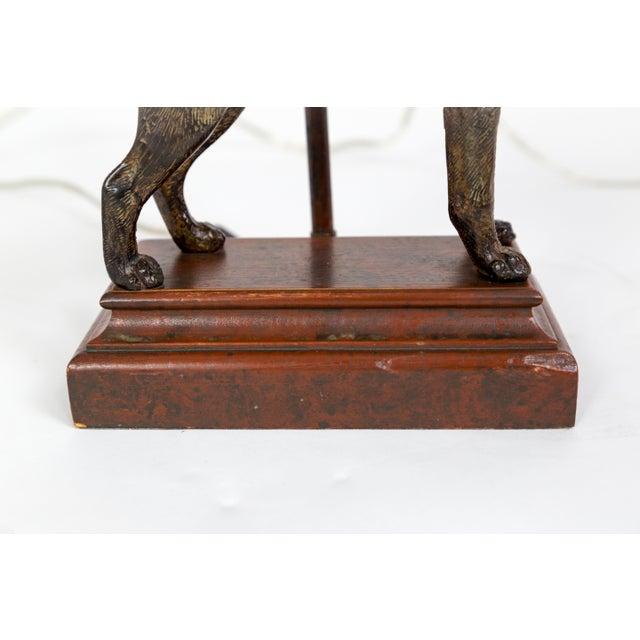 Cast Bronze Dog Sculpture Lamp For Sale - Image 9 of 12