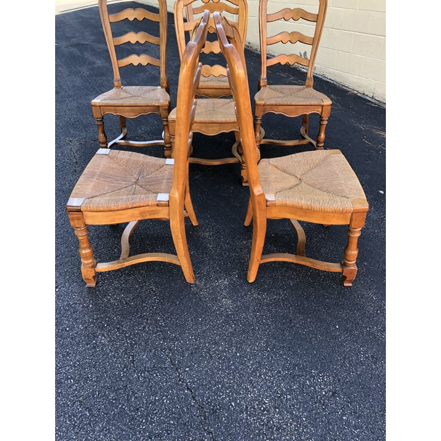 Maple 1970s Vintage Ethan Allen French Country Ladderback Chairs- Set of 6 For Sale - Image 7 of 10
