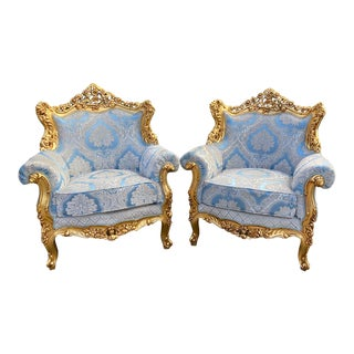 1940s Vintage Baroque/Rococo StyleBlue Damask Chairs - a Pair For Sale