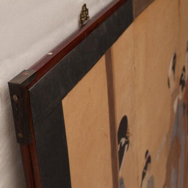 Ebony Late Meiji Era Ukiyo-E Style Large Japanese Screen For Sale - Image 8 of 11