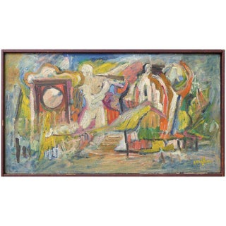1950s Figural Abstract Oil Painting on Linen Signed Gaughan For Sale