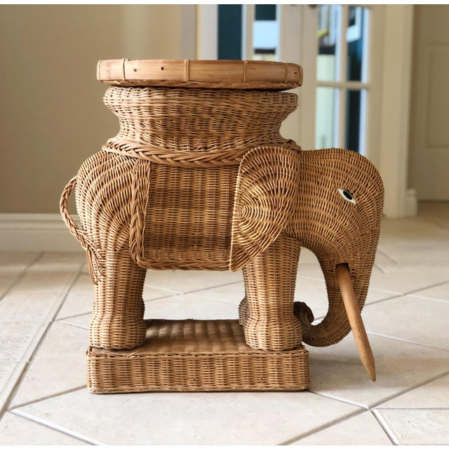 Boho Chic 1970s Vintage Boho Chic Wicker Rattan Elephant Side Tray Table For Sale - Image 3 of 6