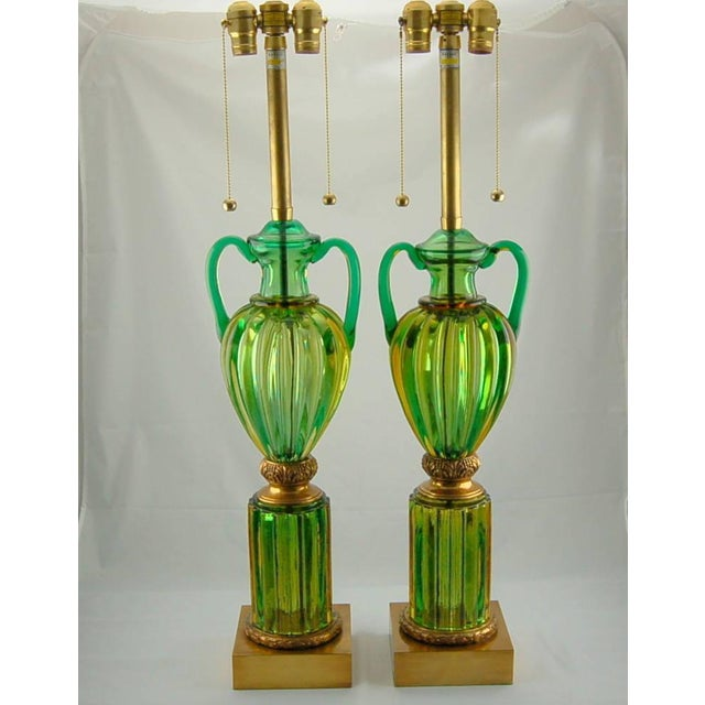 Spectacularly imposing pair of Marbro lamps in EMERALD GREEN with strong accents of LIME GREEN and AMBER, in the Sommerso...