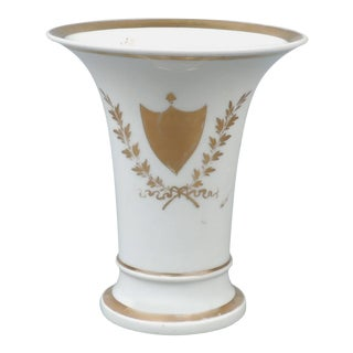 Rare 19th Century Tucker and Hemphill American Porcelain Trumpet Vase, 1830s For Sale