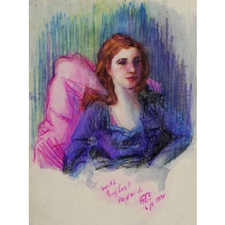 Oil Pastel Portrait Study, 1931 For Sale