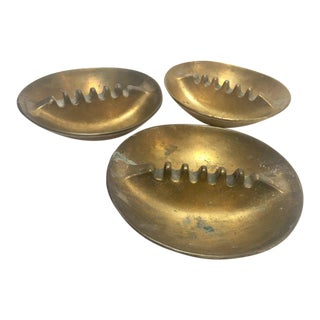 Set of Three Vintage 1960 Solid Cast Brass Ashtrays For Sale