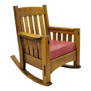 Early 20th Century Harden Mission Oak Arts & Crafts Stickley Style Rocking Chair Rocker Armchair For Sale