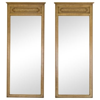 Tall Mirrors W/ Burled Panels, a Pair For Sale
