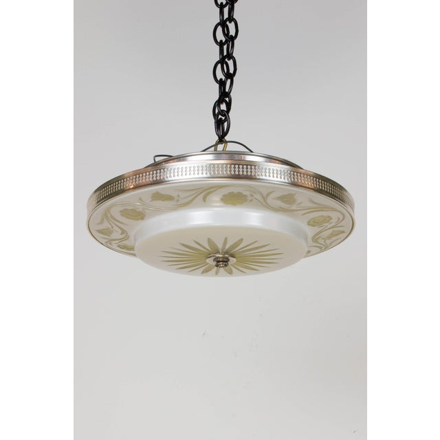 Pair of Hollywood Regency Flush Mount Fixtures. Overlay glass with cut flowers and a silver rim. Very shallow fixture....