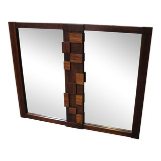 1970's Mid Century Modern Brutalist Dresser or Wall Mirror by Lane