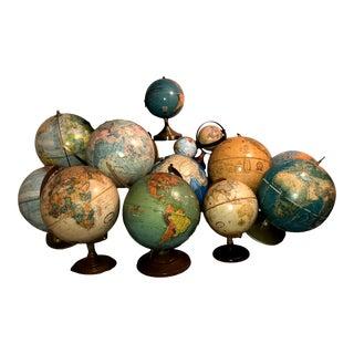 Vintage Globes Office Decor - Set of 15 For Sale