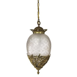 1930's Ornate Brass and Frosted Cut Glass Egg Shaped Pendant Light Fixture