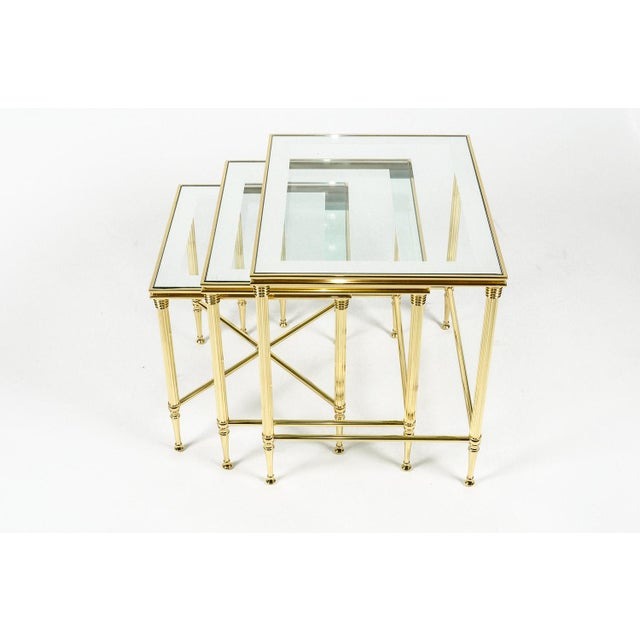 Brass & Glass Nesting Tables - Set of 3 For Sale In New York - Image 6 of 8