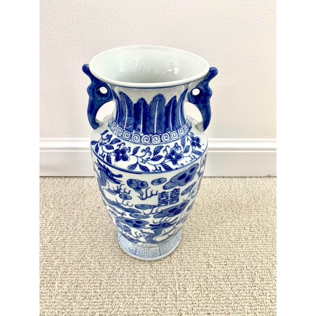 Blue Chinoiserie Blue & White Porcelain Vase For Sale - Image 8 of 10