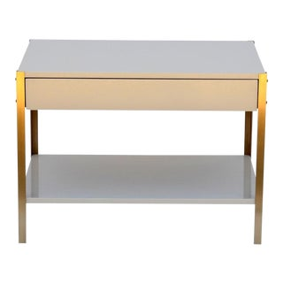 The 'Laque' Ivory Lacquer and Brass Night Stand For Sale
