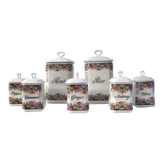 1920s Vintage Floral Porcelain Kitchen Canisters - Set of 7 For Sale