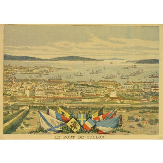 Antique Toulon, France Engraving French, 1890 - Image 1 of 3