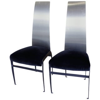 """Mid-Century """"Skinny"""" Stainless Steel, Metal and Velveteen Chairs For Sale"""