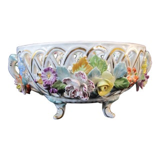 Dresden Carl Thieme High Relief Floral Reticulated Footed Bowl With Handles For Sale